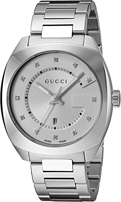 Gucci Swiss Quartz Stainless Steel Dress Silver Toned Mens Watch(Model: YA142403)