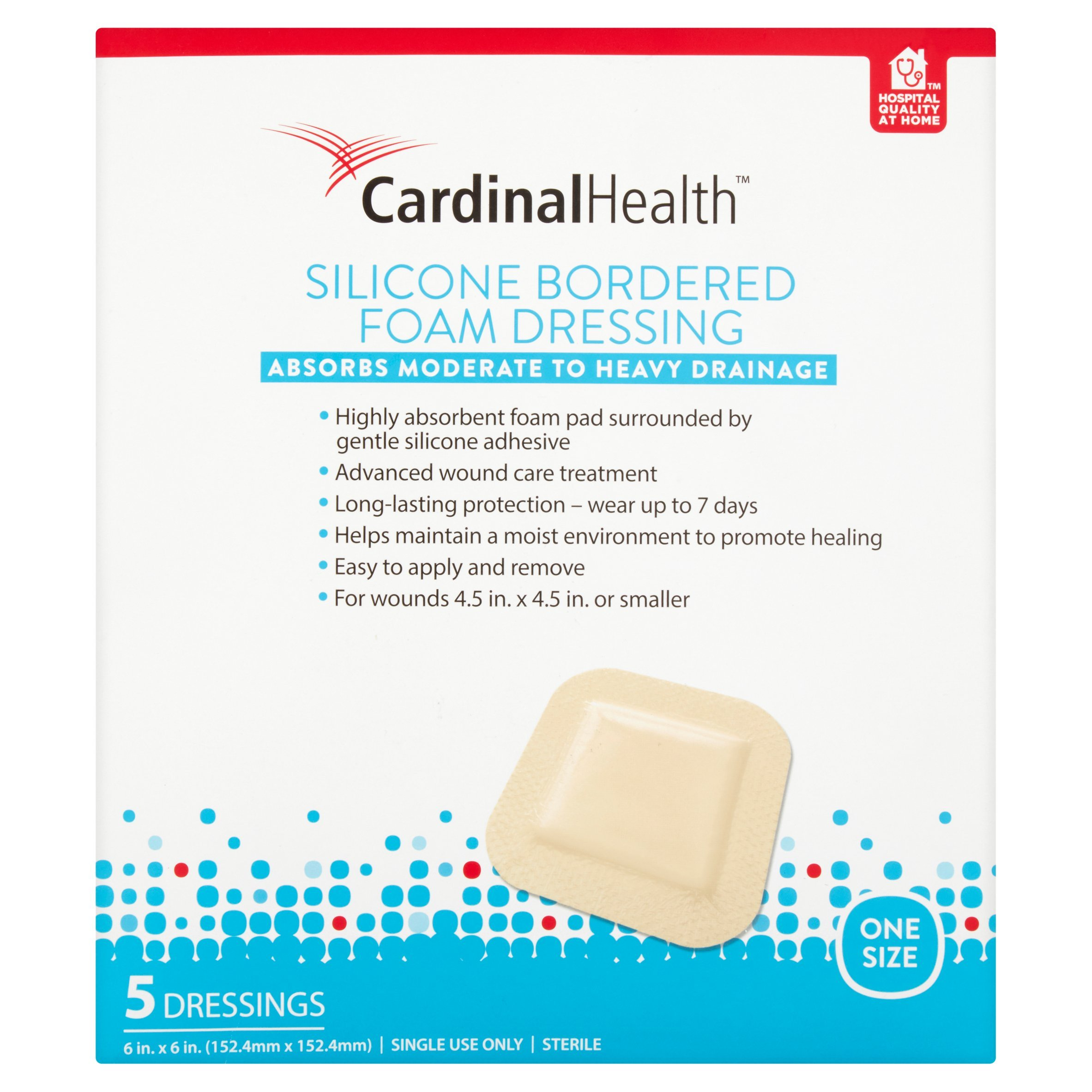 Cardinal Health BFM66RR Silicone Bordered Foam Bandage 6-inch x 6-inch (15), 15 Count Case Pack by Cardinal