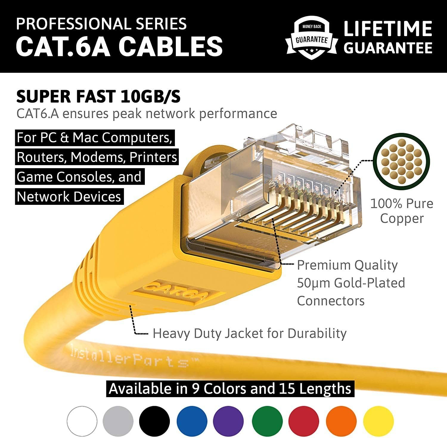 Ethernet Cable CAT6A Cable UTP Booted 1 FT Yellow InstallerParts Professional Series 550MHZ 100 Pack 10Gigabit//Sec Network//High Speed Internet Cable