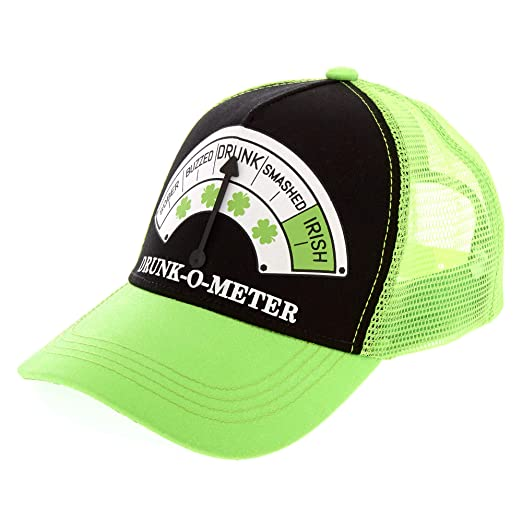 f765f1af00011 Image Unavailable. Image not available for. Color  St. Patrick s Day  Holiday Drunk-O-Meter Trucker Unisex Hat ...