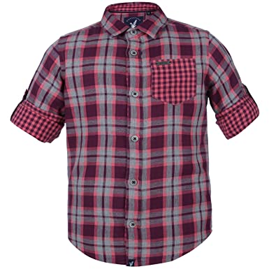 0707b0381 Image Unavailable. Image not available for. Colour: Urban Scottish Boys  Pink Cotton Checkered Casual Shirt