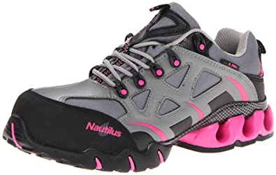 Nautilus 1851 Women's Comp Toe Waterproof EH Athletic Shoe,Grey/Pink,6 W