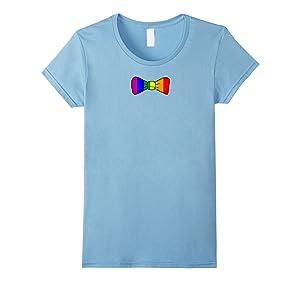 Women's Rainbow Bow Tie T Shirt Medium Baby Blue