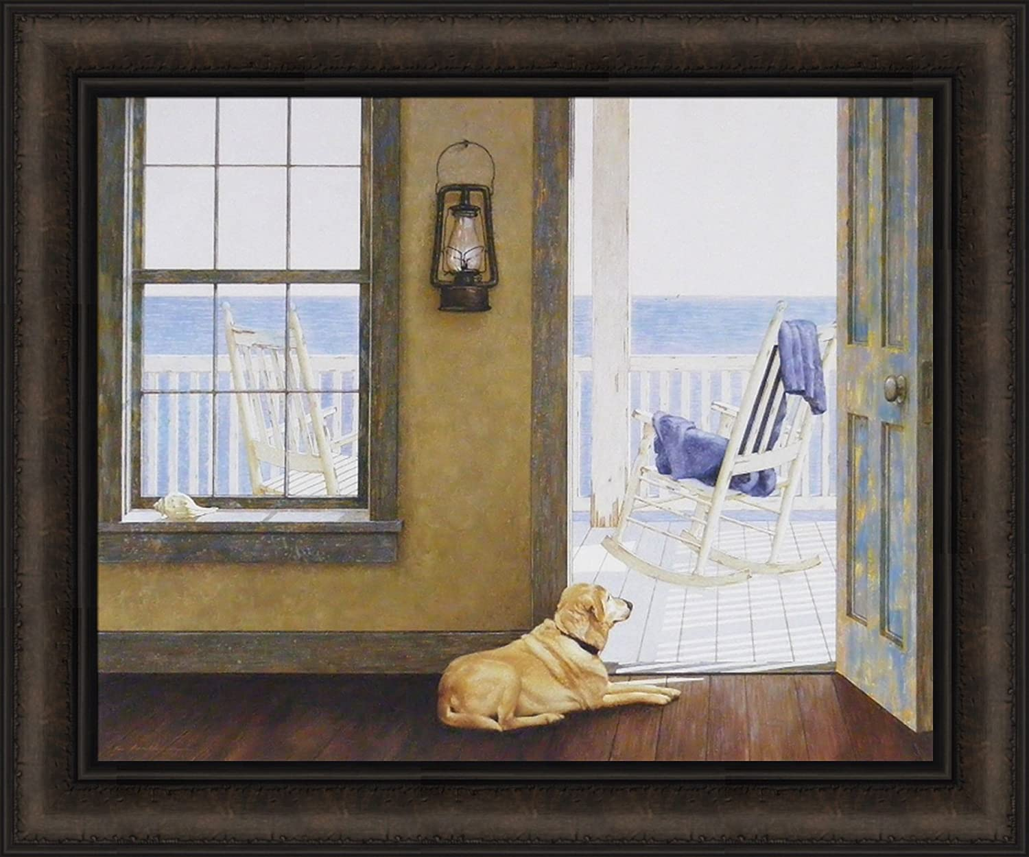 Home Cabin Décor Looking Over The Sea by Zhen-Huan Lu 20x24 Yellow Lab Dog Rocking Chair Ocean Rustic Doorway Porch Framed Art Print Picture