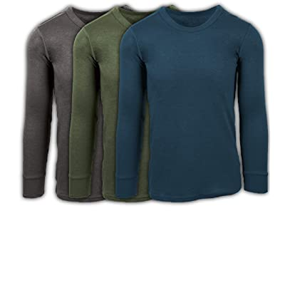 ANDREW SCOTT Men's 3 Pack Premium Cotton Top Base Layer Long Sleeve Crew Neck Shirt at Amazon Men's Clothing store