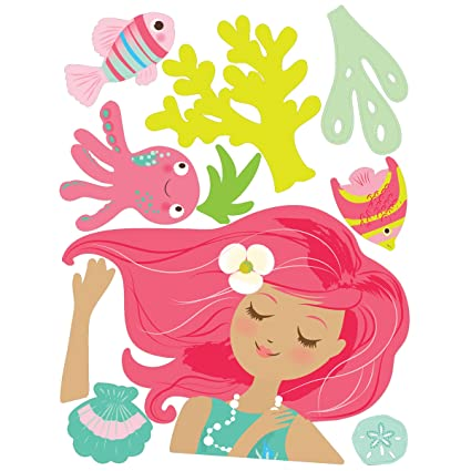Elegant Wallies Wall Decals, Mermaid Wall Sticker, 19 Inch X 38 Inch