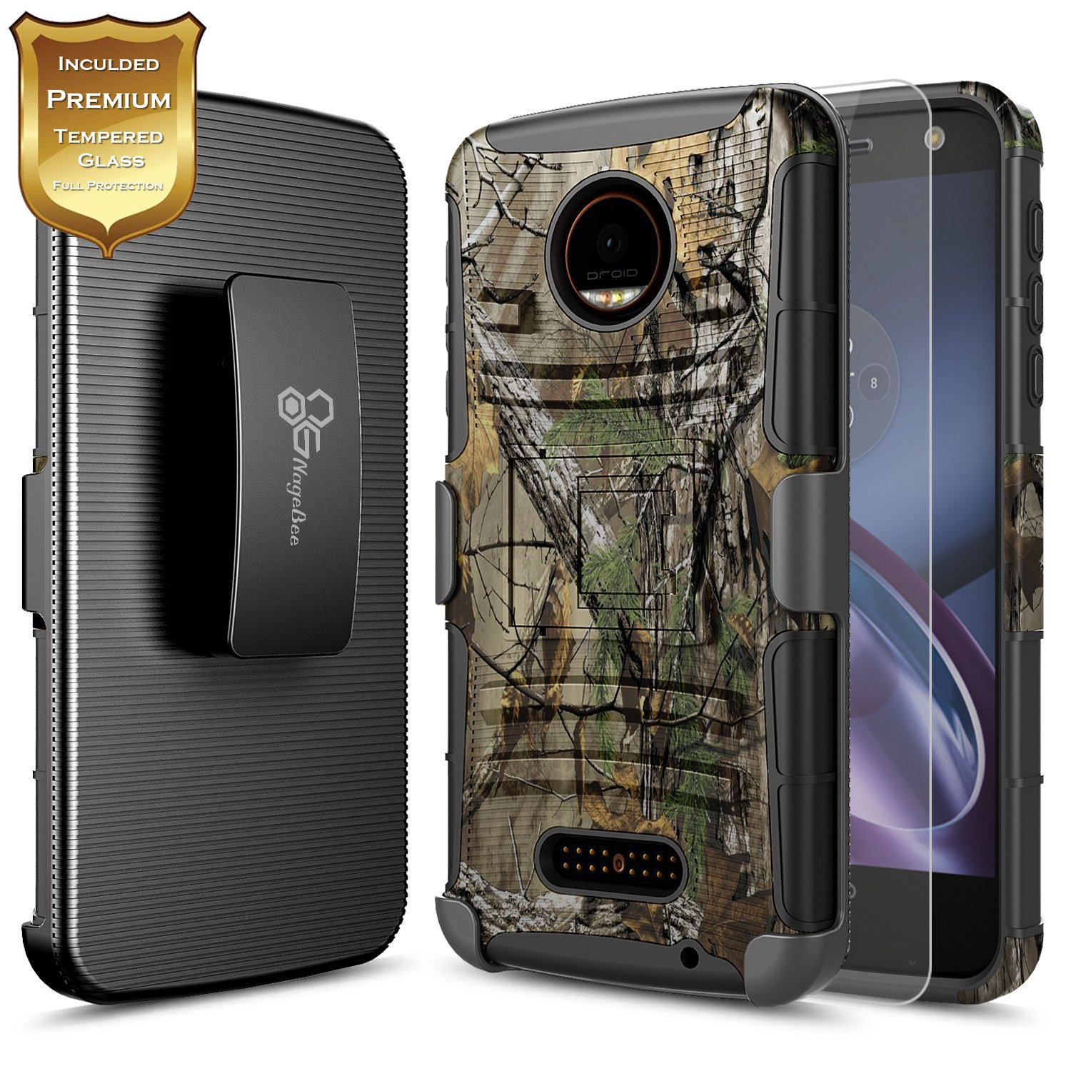 new style e8669 5da54 Details about For Motorola Moto Z Play Droid NageBee® Shockproof Belt Clip  Holster Case Cover
