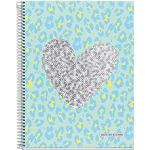 Agatha Ruiz De La Prada 48070 – Notebook 4 Cardboard Leather Sequins (DIN A4,