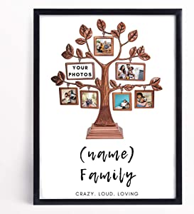 Personalized Family Tree Photo Wall Art for Living Room Customized Family Picture Canvas Wall Decor Housewarming Essential Personalized Family Tree Framed Decorations for Bedroom (11x17 Poster)