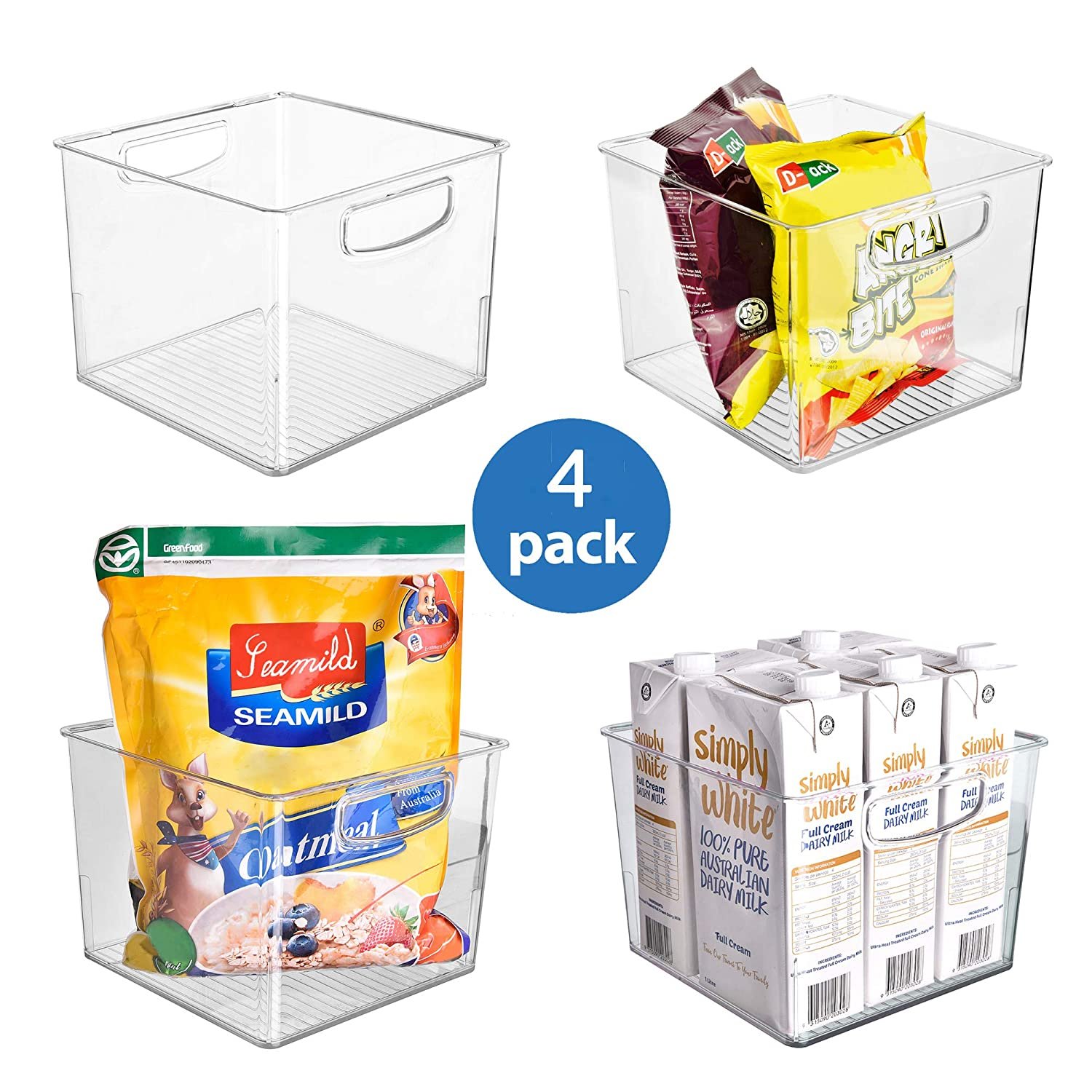 Ambergron Organizer Storage Bins for Kitchen Pantry Cabinet Refrigerator Plastic Food Organizer with Handles, Clear Container, BPA-Free, Pack of 4