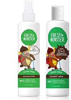 product image for Fresh Monster Toxin-free Hypoallergenic Kids Detangler Spray & 2in1 Shamoo & Conditioner, Coconut, 2 Count, 8 oz
