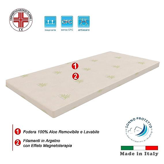 Dormiland - Topper corrector para colchón, fabricado en espuma viscoelástica, 6 cm de altura, funda extraíble, con aloe vera, magnetoterapia, ...