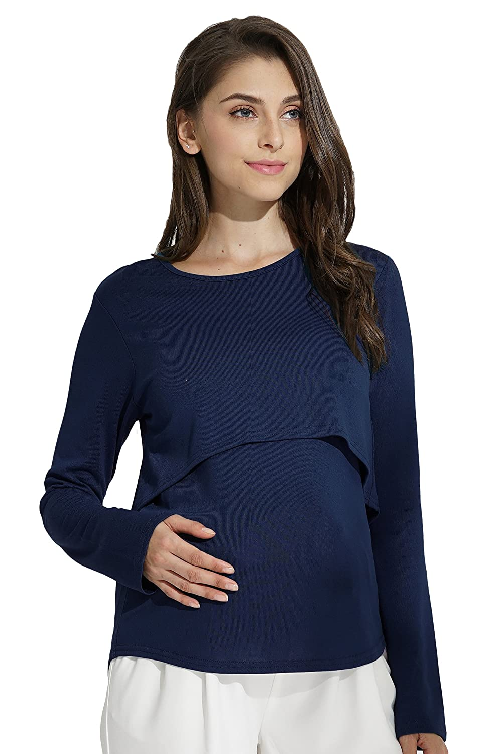 Sweet Mommy Rayon Long Sleeve Layered Maternity and Nursing Top Sweet Mommy Co. Ltd st7007