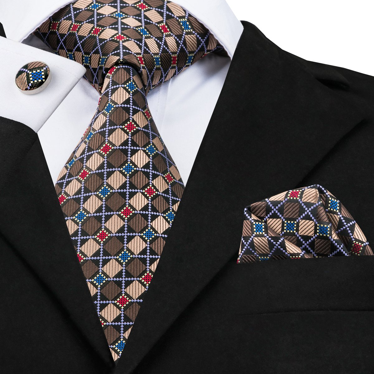 Plaid Ties for Men for Wedding Bussiness Tie Hanky Cufflinks 100/% Silk