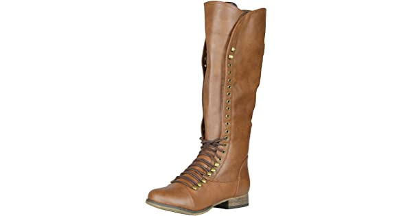 48d58a4ba0c Breckelle s Women s Georgia-35 Knee High Lace-Up Combat Boot