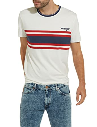 6200b231cd2bf Wrangler Mens Chest Stripe Crew Neck T-Shirt - Off White - M  Amazon.co.uk   Clothing