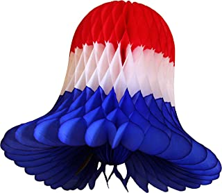 product image for Devra Party 6-Pack 9 Inch Honeycomb Tissue Paper Bell (Red/White/Blue)