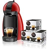 Pack Krups Dolce Gusto Piccolo KP1006 -  Cafetera de cápsulas, 15 bares de presión, color rojo + 3 packs de café Dolce Gusto Espresso Intenso