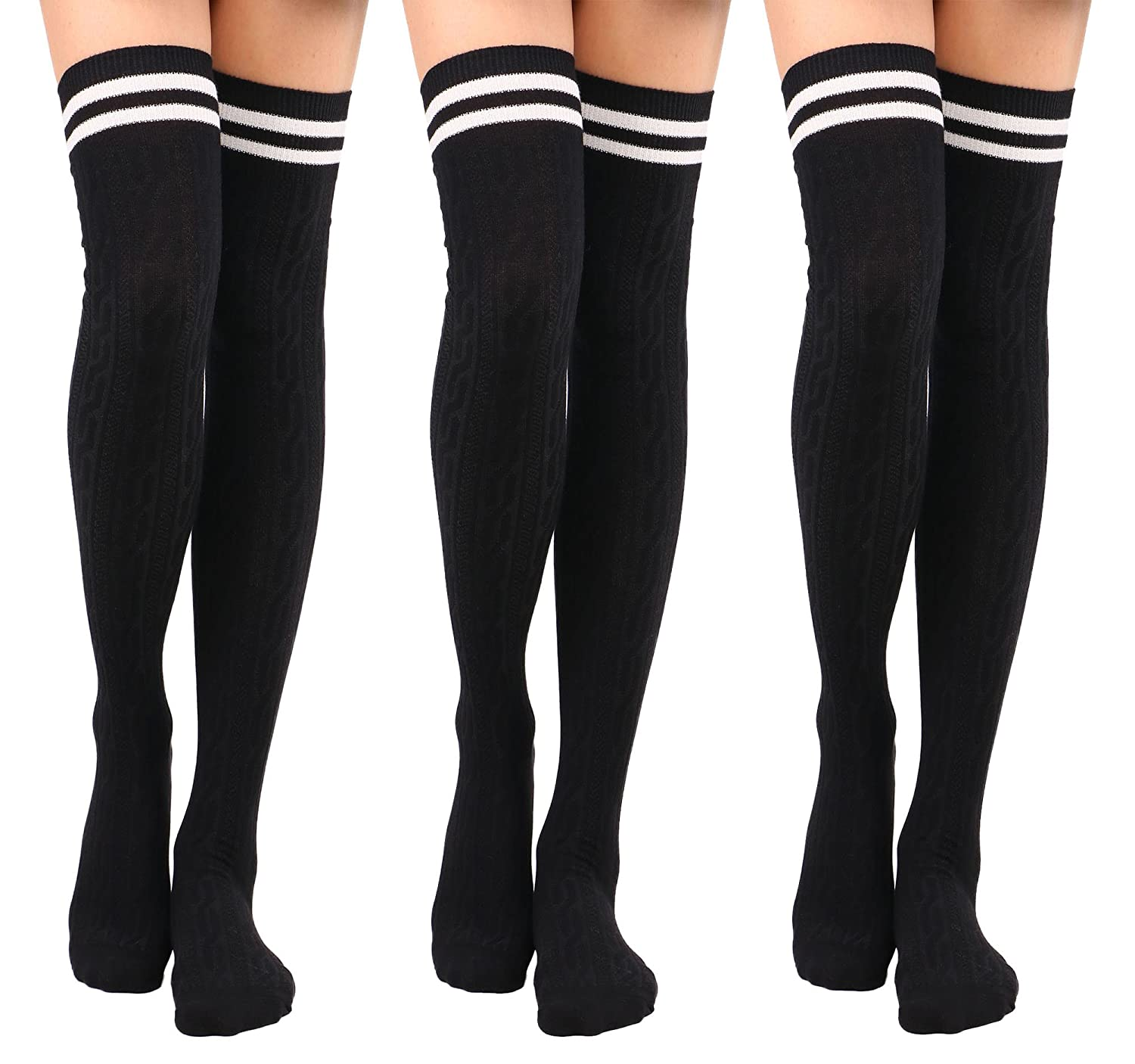 95599363494 Knee High Socks Women s Thigh High Cable Knit Striped Winter Socks ...