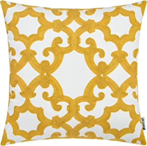 HWY 50 Decorative Throw Pillow Covers Embroidered Yellow Square Pillow Cover Cushion Cases for Couch Sofa Living Room Accent Farmhouse Decor 18 x 18 inch Geometric Window Grille 1 Piece