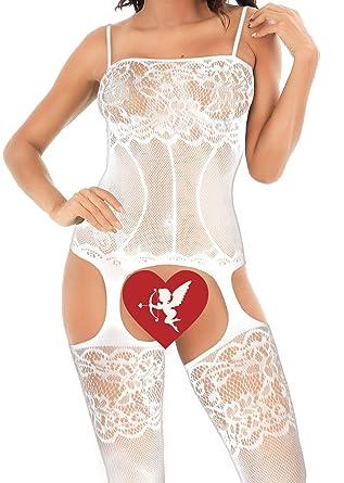 Frecoccialo Combinaison Sexy Femme Longue Porte Jarretelles Ouverte  Entrejambe Creux Autour des Jambes Effet Porte Jarretelles 9393e4587ef