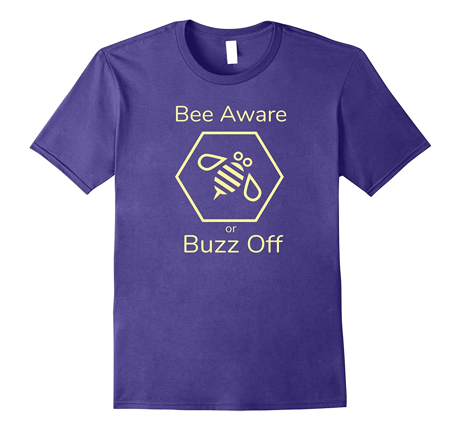 Bee Aware or Buzz Off T-Shirts Hexagon Honey Bee Awareness-TH