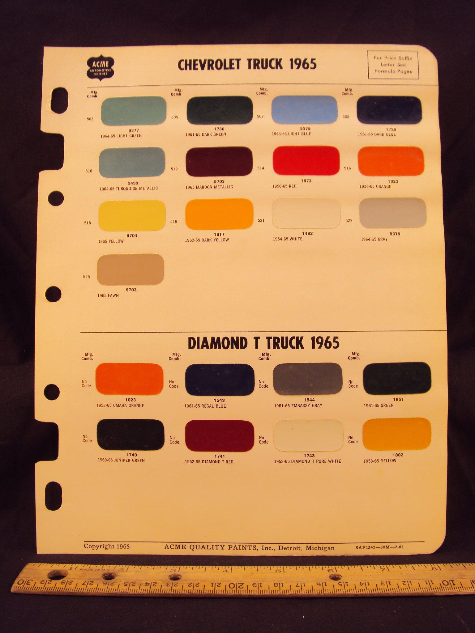 1965 CHEVROLET & DIAMOND T Truck Paint Colors Chip Page