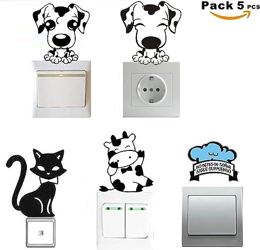 SUPER STICKER - Pack 5 pcs Vinilo decorativo pegatina - para pared, bater, interruptor, puerta. Etc.- animales, ref:pck6a: Amazon.es: Hogar