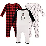Hudson Baby Baby Cotton Union Suit, 3 Pack, Mr. Penguin, 3 Months