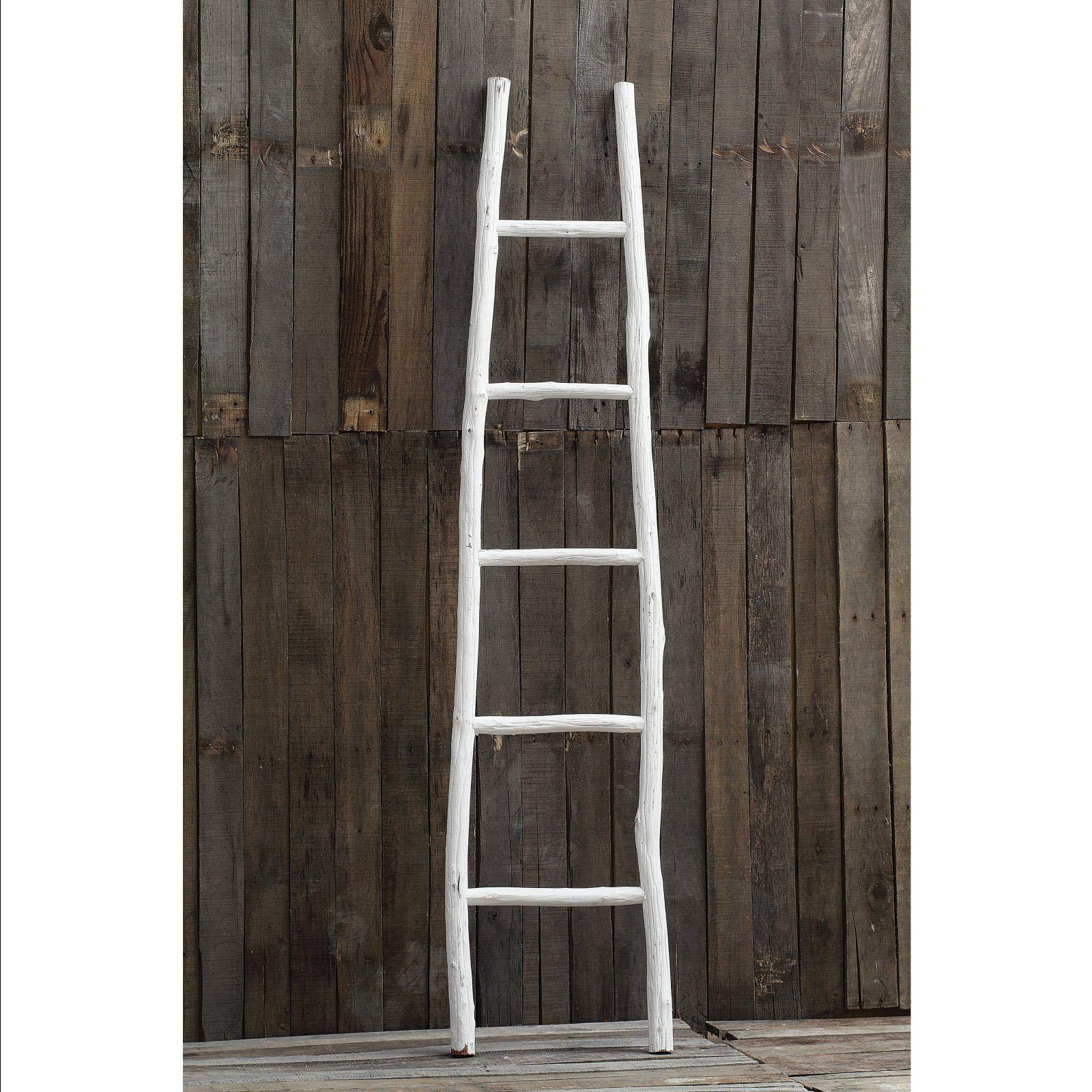 70 in. Decorative Wood Ladder Quilt Rack