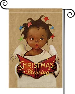 AVOIN Christmas Blessing Black Girl Garden Flag Vertical Double Sized, Christmas Holiday Party Yard Outdoor Decoration 12.5 x 18 Inch