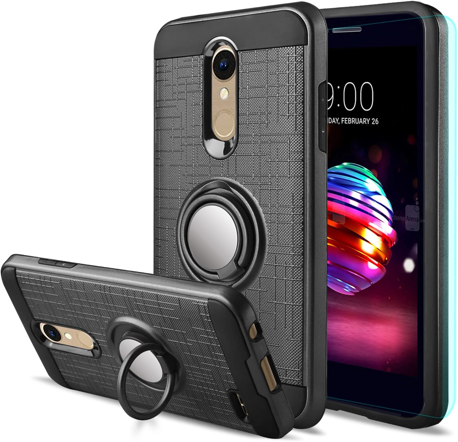 LG K30 Case,LG Phoenix Plus/LG Harmony 2/LG Premier Pro/LG K10 2018 Case with HD Screen Protector,Anoke Cellphone 360 Degree Rotating Ring Holder Kickstand Drop Protective Cover ZS Black
