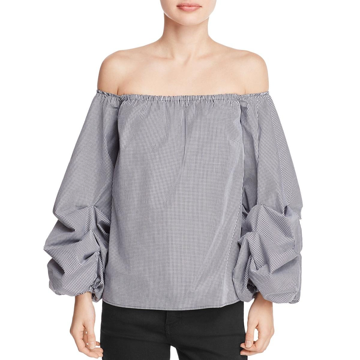 Petersyn Womens Mini Check Off-The-Shoulder Crop Top B/W L by Petersyn (Image #2)