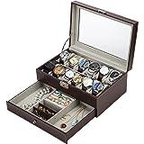 Readaeer® 腕時計収納ケース 腕時計収納ボックス 2段式 12本用 アクセサリー収納兼用