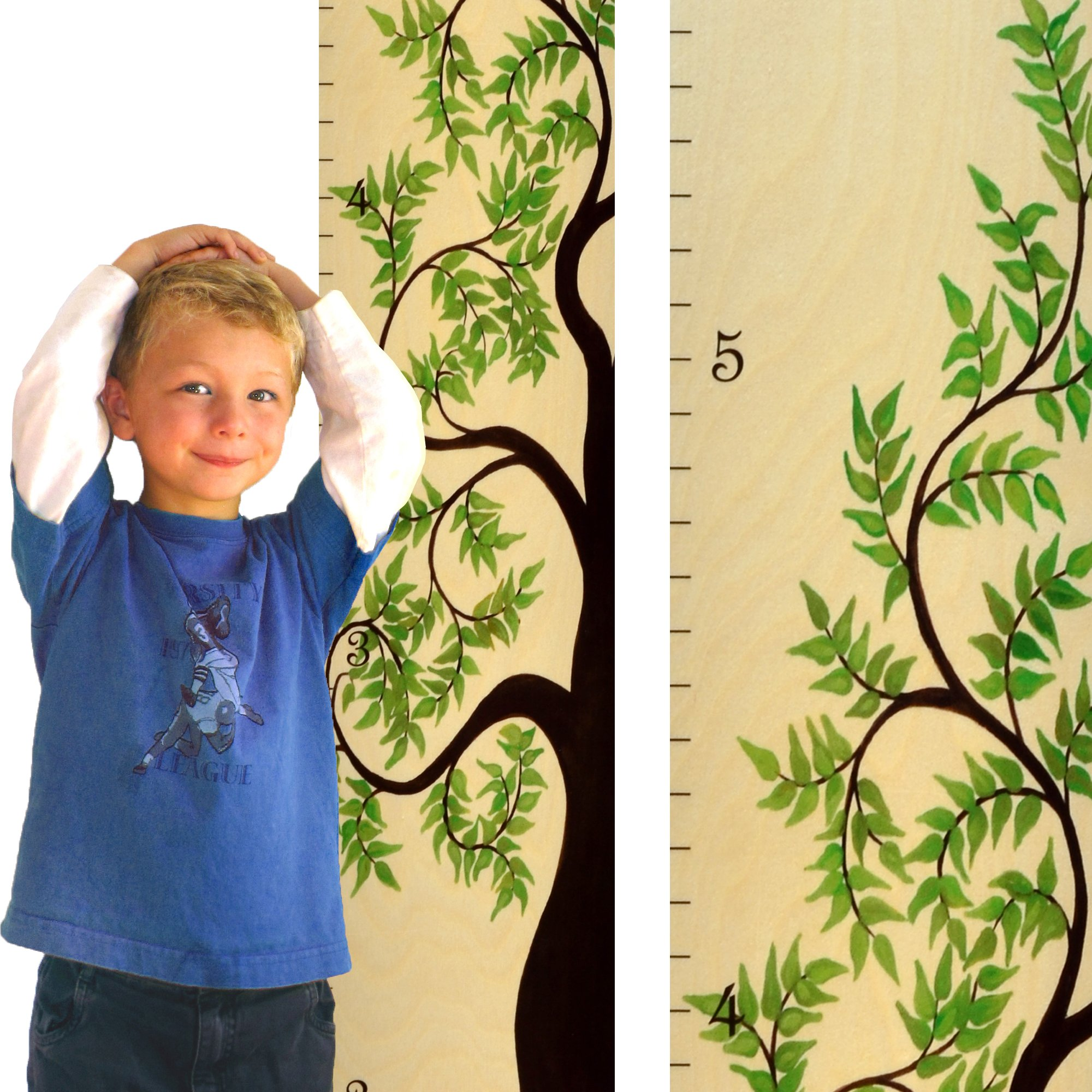 Growth Chart Art   Tree of Life Wooden Growth Chart for Boys & Girls   Wood Height Chart   Green Leaf Tree of Life WIDE VERSION
