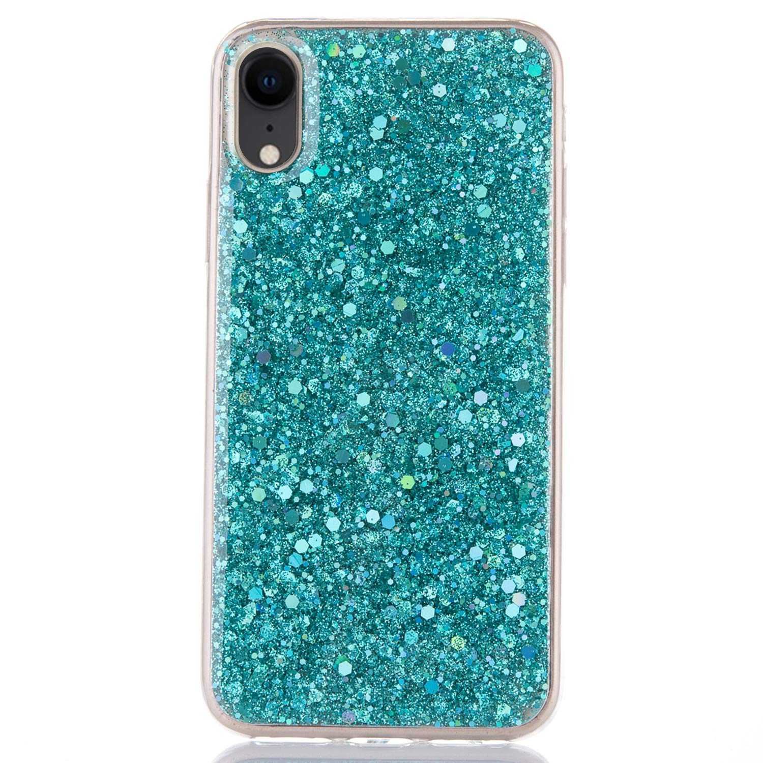 MoreChioce compatible avec Coque iPhone XR /Étui Silicone Paillette,Ultra Mince Multicolore Amour Transparente Brillant Strass Diamant Anti-Rayures Housse Protecteur TPU Bumper