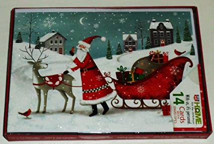 Rite Aid Christmas Cards.Amazon Com Santa With Sleigh 14 Christmas Cards With