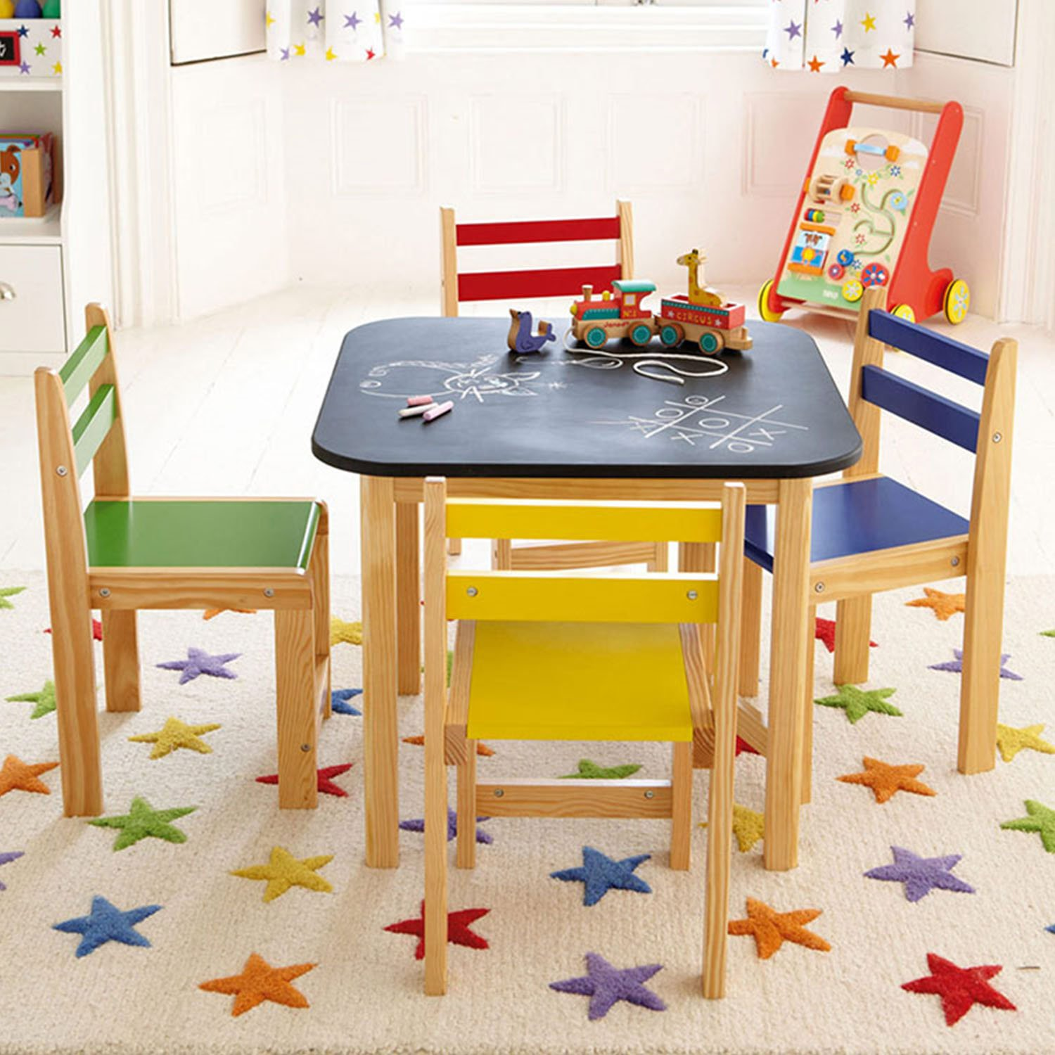 Taylor & Brown Childrens Kids Blackboard Top Wooden Table and 4 Chairs Set Activity Wood Furniture Play Set