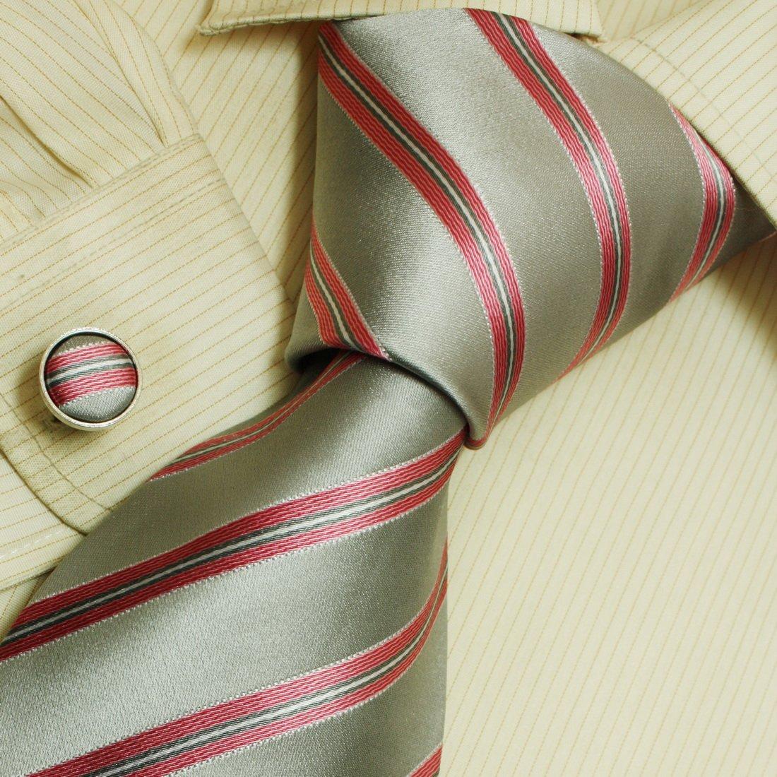 Y/&G Mens Fashion Classic Fabric Mens Silk Striped Neck Tie Cufflinks Set