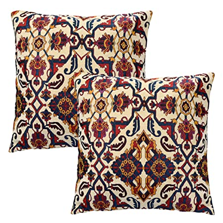 Softta Boho Throw Pillow Covers 22 x 22 Inch Pack of 2 Textured Chenille Geometric Ethnic Bohemian Moroccan Decorative Throw Pillows Red Blue Orange