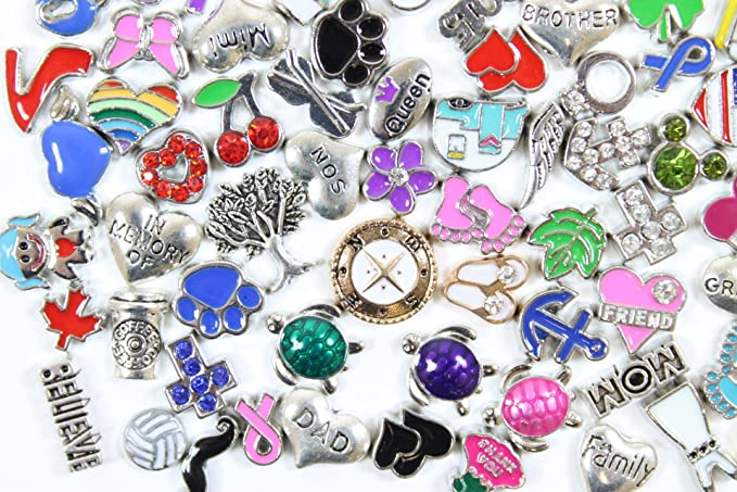 Ginooars 100pcs Mixed DIY Floating Charms for Glass Living Memory Lockets