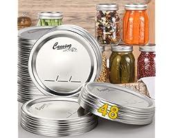 AOZITA 48-Count, Regular Mouth Canning Lids for Ball, Kerr Jars - Split-Type Metal Mason Jar Lids for Canning - Food Grade Ma