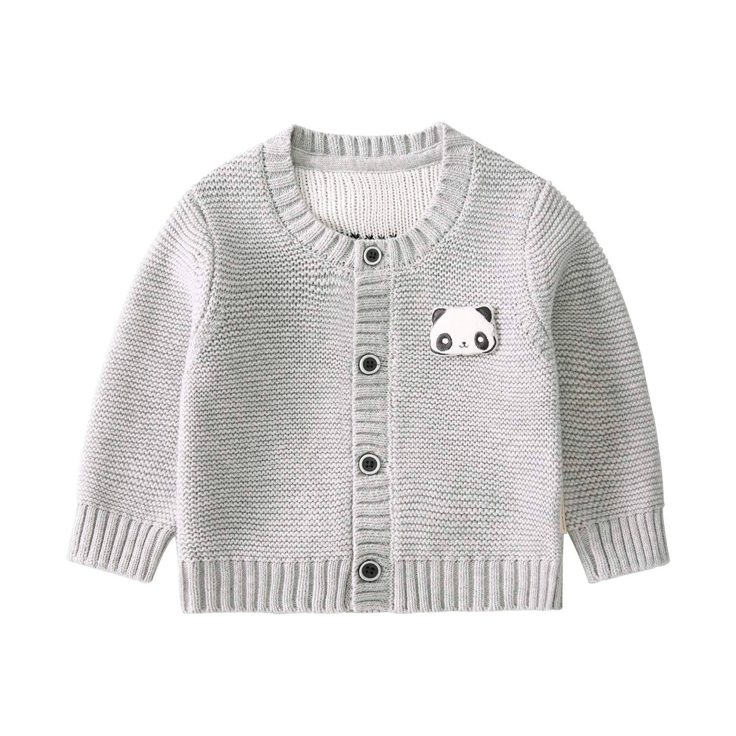 pureborn Baby Boy Cotton Cartoon Panda Knit Cardigan Button Down Sweater Gray 6-12 Months by pureborn