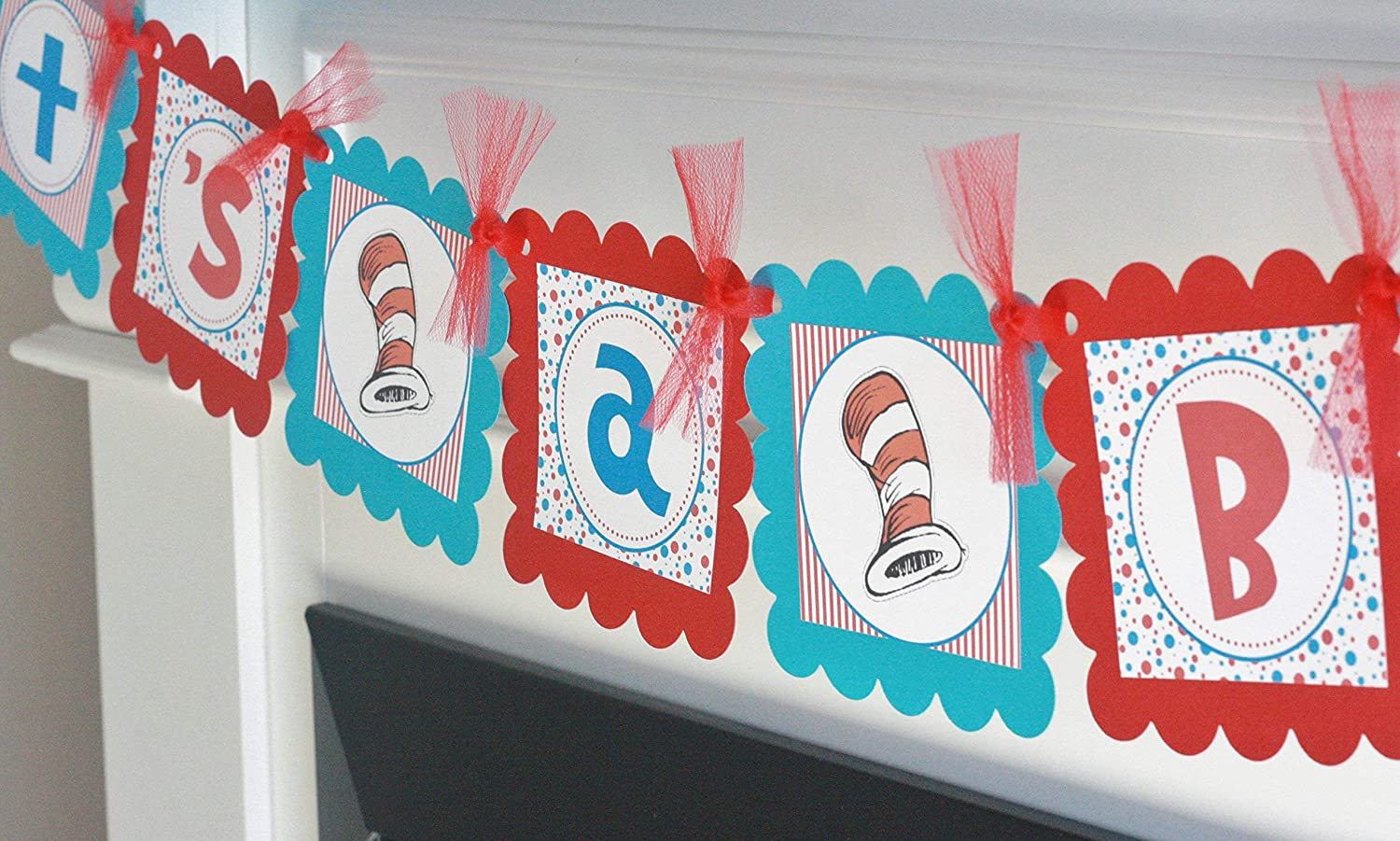 Red Blue Turquoise Blue Stripe Cat in the Hat Seuss DotIt's a Boy orIt's a Girl Banner - Party Packs Available - Matching Items Available