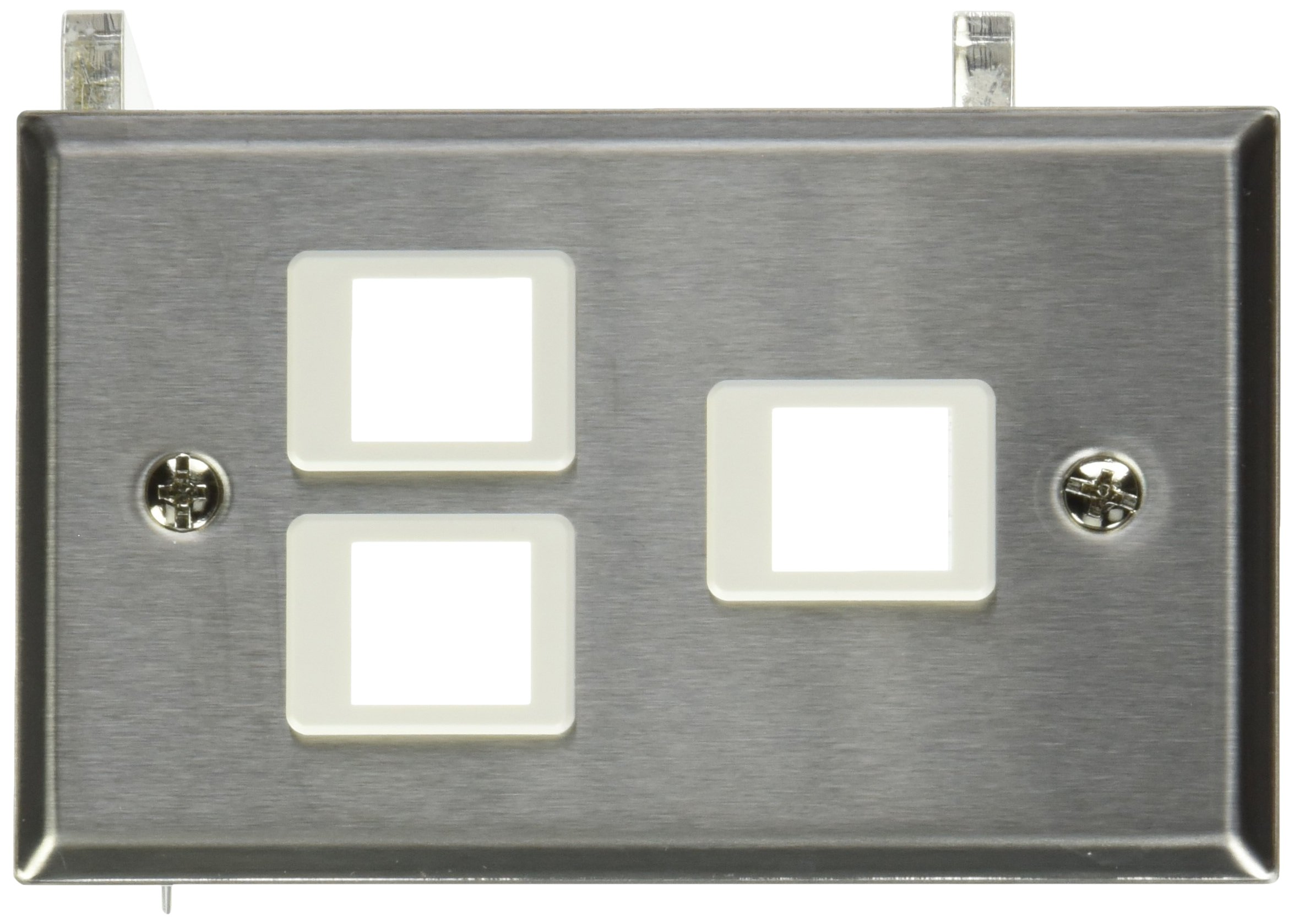 C2G/Cables to Go 37095 3-Port Single Gang Multimedia Keystone Wall Plate (Stainless Steel)
