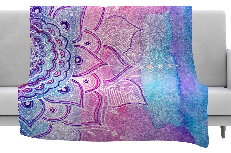 Kess InHouse Li Zamperini Light Mandala Lavender Pink Watercolor Throw 40 x 30 Fleece Blanket