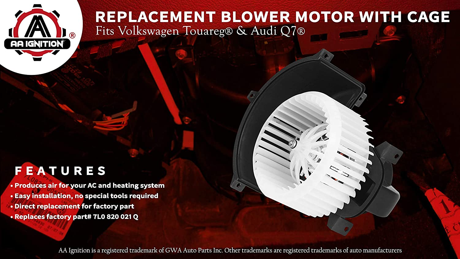 2009 Audi Q7 07-15 TYC 700262 Fits Volkswagen Touareg 2004 76994 2006 2005 Replaces# 7L0 820 021 Q AC Heater Blower Motor Fan White With Cage 2010 2008 7L0-820-021-Q 2007 4L1-820-021-B