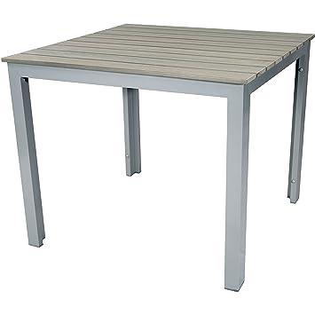 Amazon De Gartentisch 90 X 90 X 75 Cm Grau Alu Aluminium Polywood