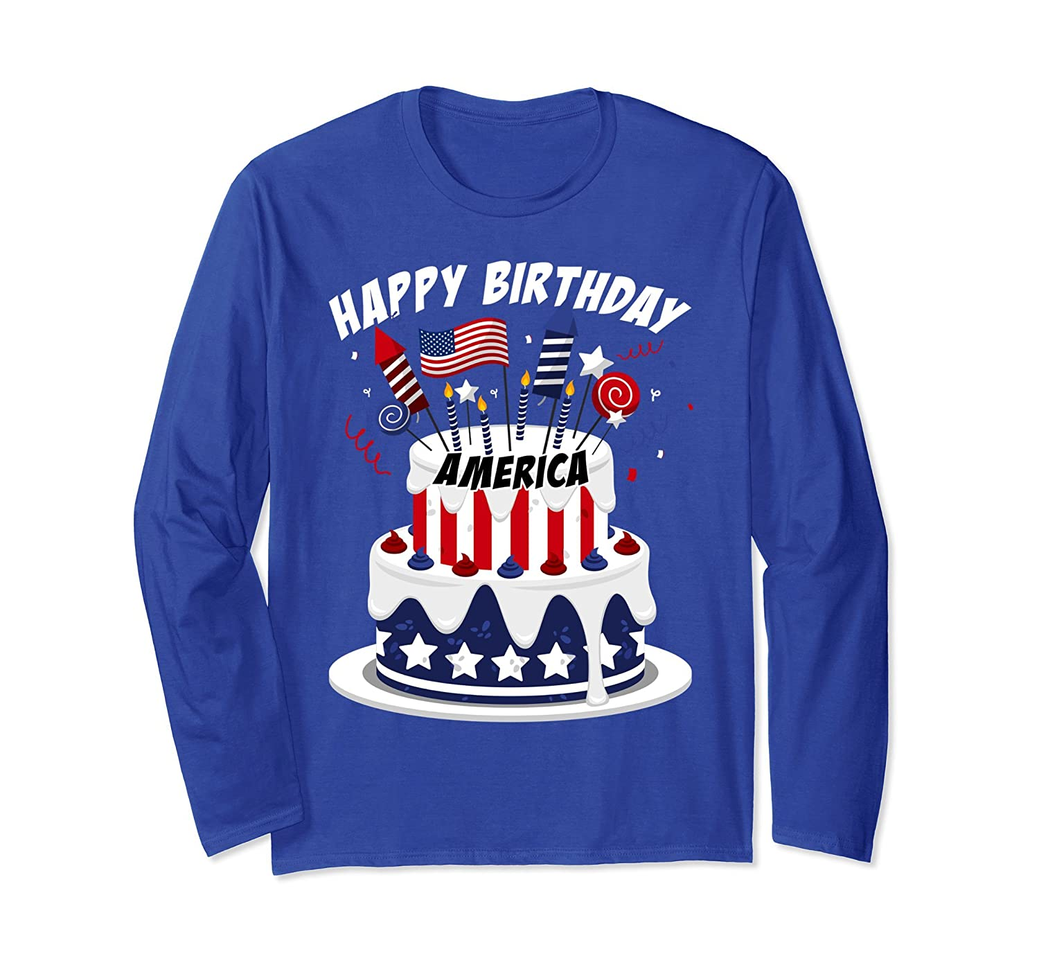 Happy Birthday America Cake Rocket Candle Party T Shirt Ah My Shirt