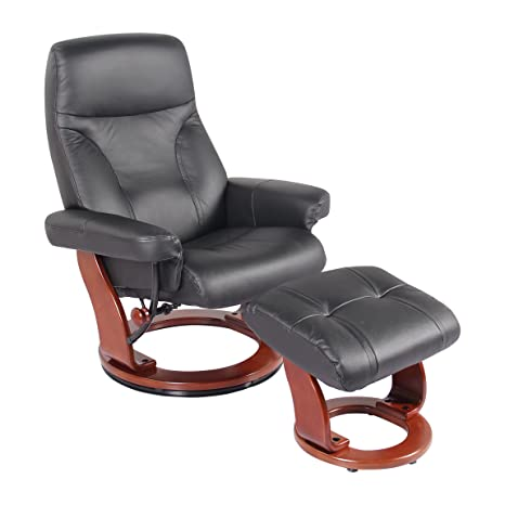 Amazon.com: piel auténtica sillón reclinable silla y otomana ...